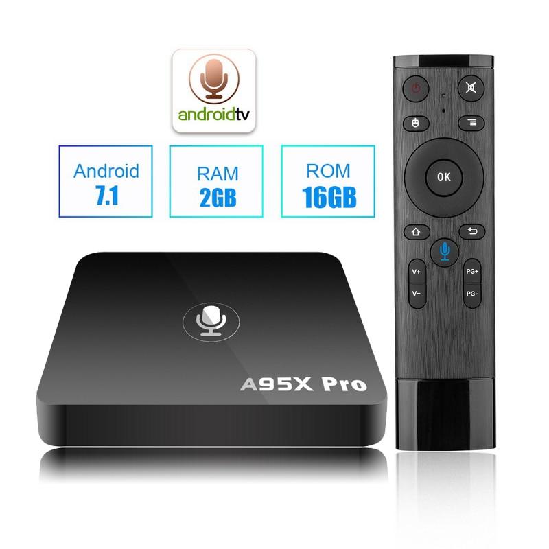 5pcs DHL A95X Pro Android 7.1 TV Box Google Voice Remote Control Amlogic S905W Quad Core 2GB 16GB Wifi 4K Media Player KODI a95x r1 amlogic s905w quad core android