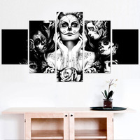 Street Graffiti Art Black White Wall Decor Paintings Skull Girl Canvas Print Painting Candy Girl Posters Picture for Living Room