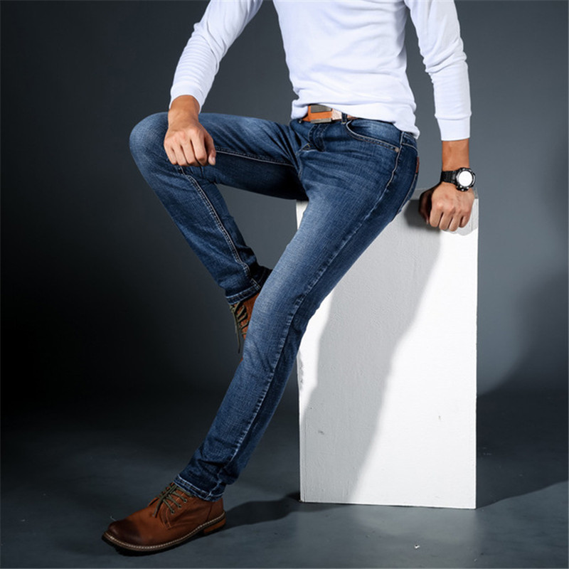 Cotton Pants Jeans Clothing Stretch Slim Casual Men's High-Quality Fashion New Male Large
