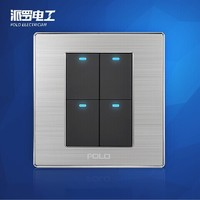 Free Shipping POLO Luxury Wall Light Switch Panel 4 Gang 2 Way Champagne Black Push Button