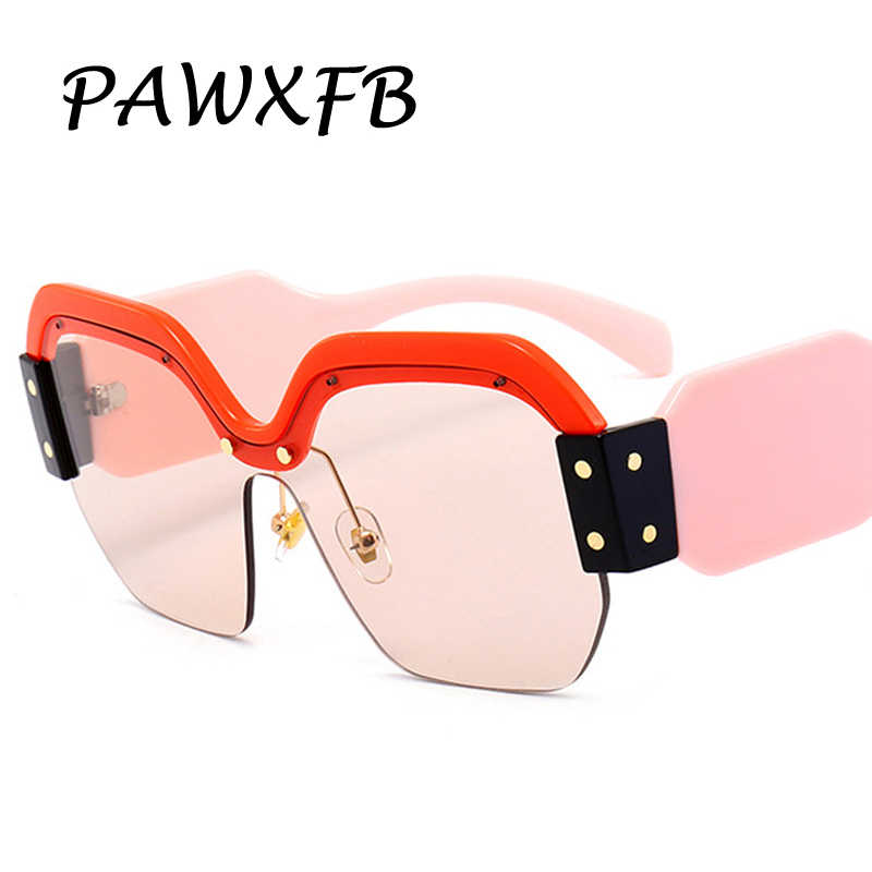 963db60102c Pop Age 2018 Luxury Italy Brand Designer Oversized Square Sunglasses Women  Retro Rimless Pink Sun Glasses