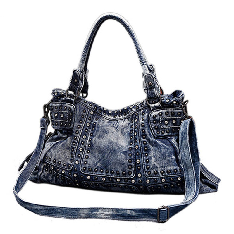 Famous Brand Denim women large shoulder bag female jeans hobos bag with rivet women handbag-in Shoulder Bags from Luggage & Bags    1