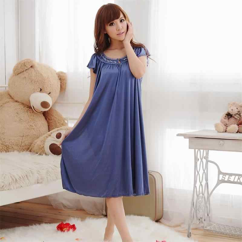 ... Free Shipping New Women Summer Plus Size Ice Silk Nightgown Female  Large Size Short Sleeve sleepwear ... bdac1c1665b4
