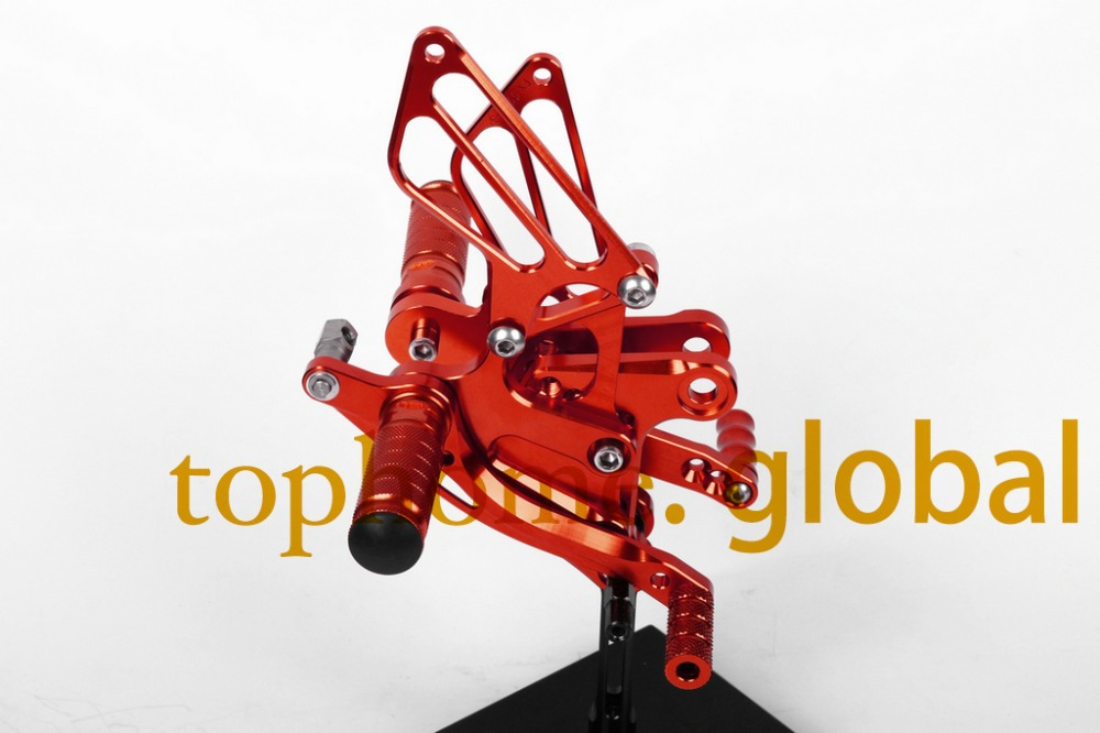 Free Shipping Motorcycle Red CNC Rearsets Foot Pegs Rear Set For Kawasaki ZX6R 2009-2012 2010 2011 motorcycle foot pegs