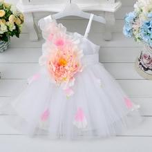 Горячая! Дети девушки большой цветок ребенка платье красоты невесты ребенок шифон элегантные вечернее платье младенца платье принцессы 1 — 7