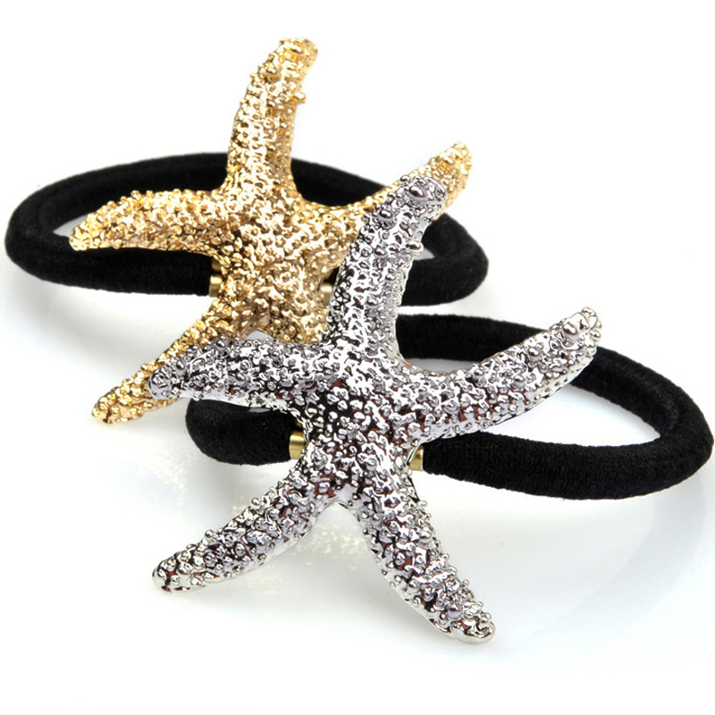 1 X Starfish Glitter Scrunchy Hair Ties Headband For Women Hairband Elastic Hair Bands Hair Accessories Rubber Elastic Bands 2016 sale new arrival headband korean flower cartoon girls elastic hair bands accessories rope ties princess gift 6 pcs
