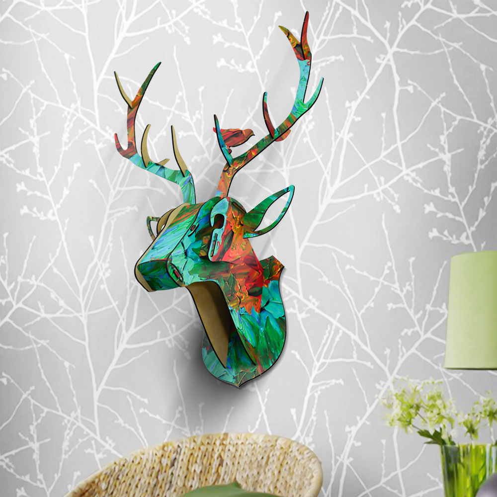 Animal Reindeer Head Wooden Wall Hanging For Living Room Bedroom Home Decor Wood Crafts MDF Hanging Decorations In Small Size