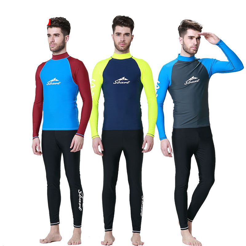 Sbart Long Sleeve Rashguard Swim Shirts Men Summer Anti Uv