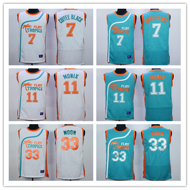 Flint Tropics Semi Pro Movie  33 Jackie Moon  7 Coffee Black  11 Ed Monix  Green White Stitched Men s Basketball Jersey 133c65958