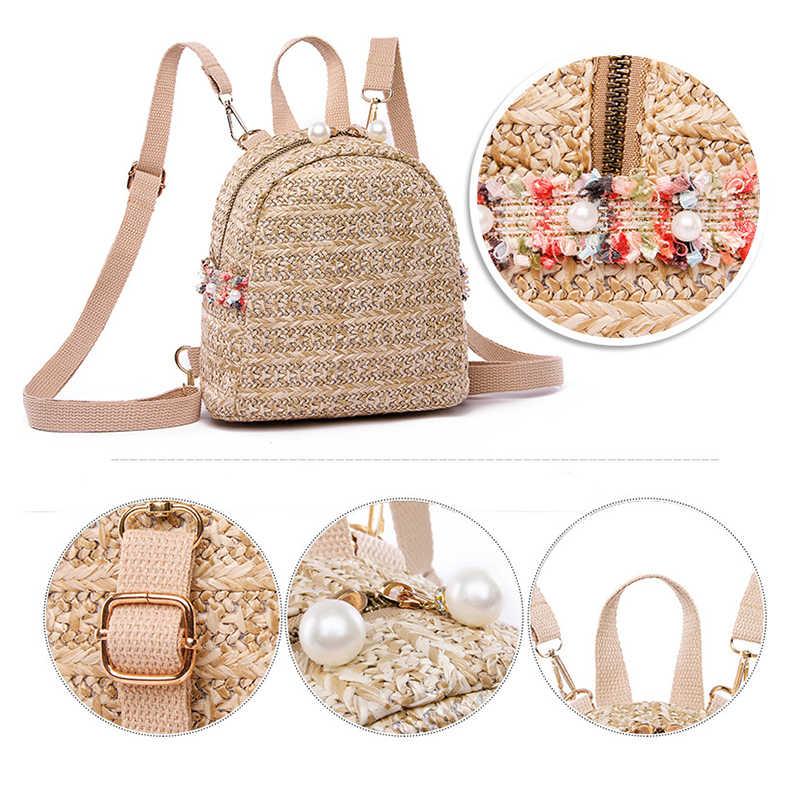Соломы рюкзак, женская сумка небольшой моды полосой Тканные рюкзаки мини Девушка Bagpack для подростка молодежи Back Pack Национальный Ветер 2019