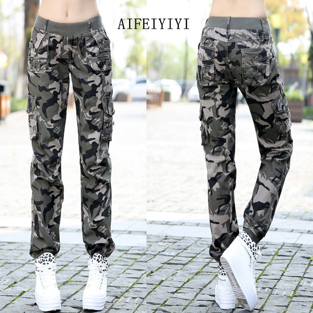 Womens Workout Camouflage Military Harem Cargo Jeans Pants Denim Overalls Beam Baggy Pant Ladies Loose Multi-pocket Trousers 2