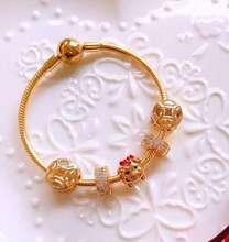 GM100%925 Sterling Silver Original Copy High Quality 1:1 Piglet Gold Bead Bracelet Wholesale Free Postage