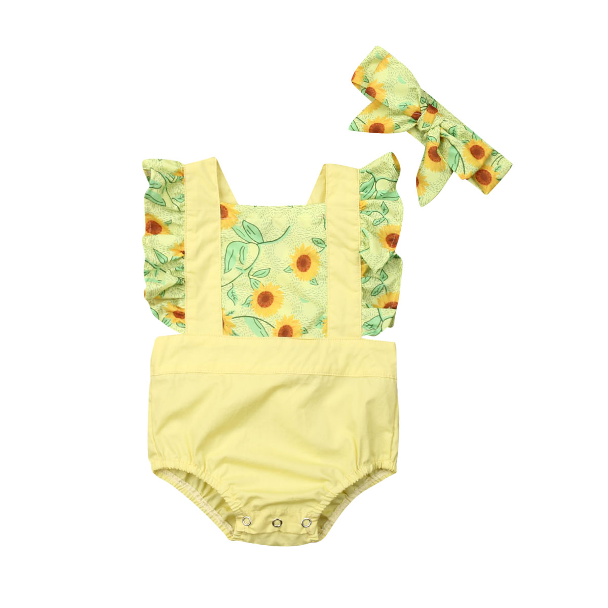 0 24M Infant Baby Girl Summer Ruffle Backless Bodysuit Strappy Sleeveless Patchwork Sunflower Outfit with Headband Cute Clothes in Clothing Sets from Mother Kids