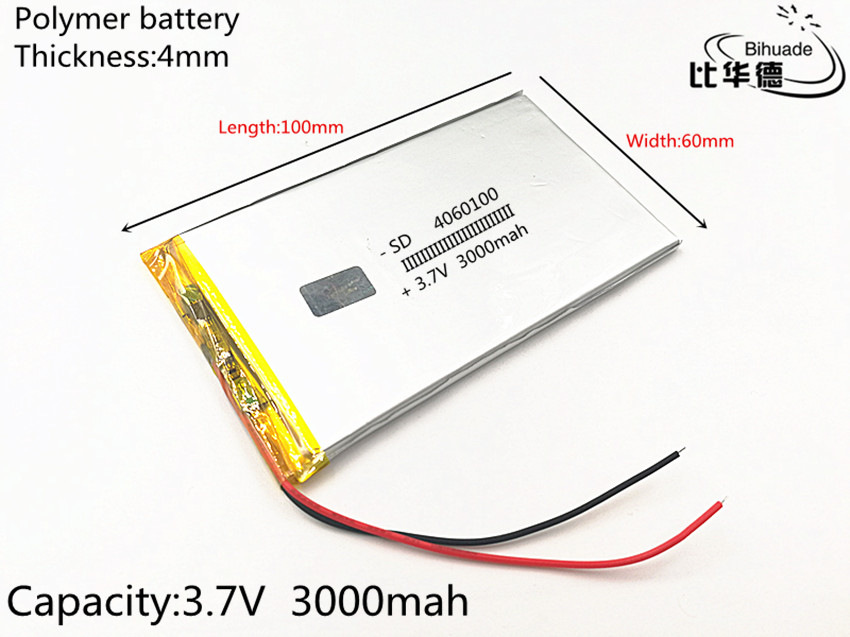 3 7V 3000mAh 4060100 Lithium Polymer Li-Po li ion Rechargeable Battery  cells For Mp3 MP4 DIY PAD DVD