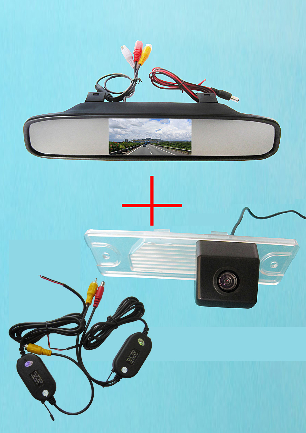 Wireless Color CCD Chip Car Rear View Camera for Renault Koleos + 4.3 Inch rearview Mirror Monitor wireless color ccd chip car rear view camera for kia sorento sportage 4 3 inch foldable lcd tft monitor
