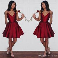 Simple Cheap Dark Red Homecoming Dress 2017 Spaghetti Straps Short Prom Dress Satin Mini Graduation Dress