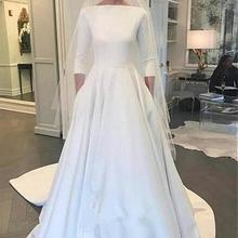 LAYOUT NICEB 3/4 Sleeves Wedding Dresses A-line Sweep Train