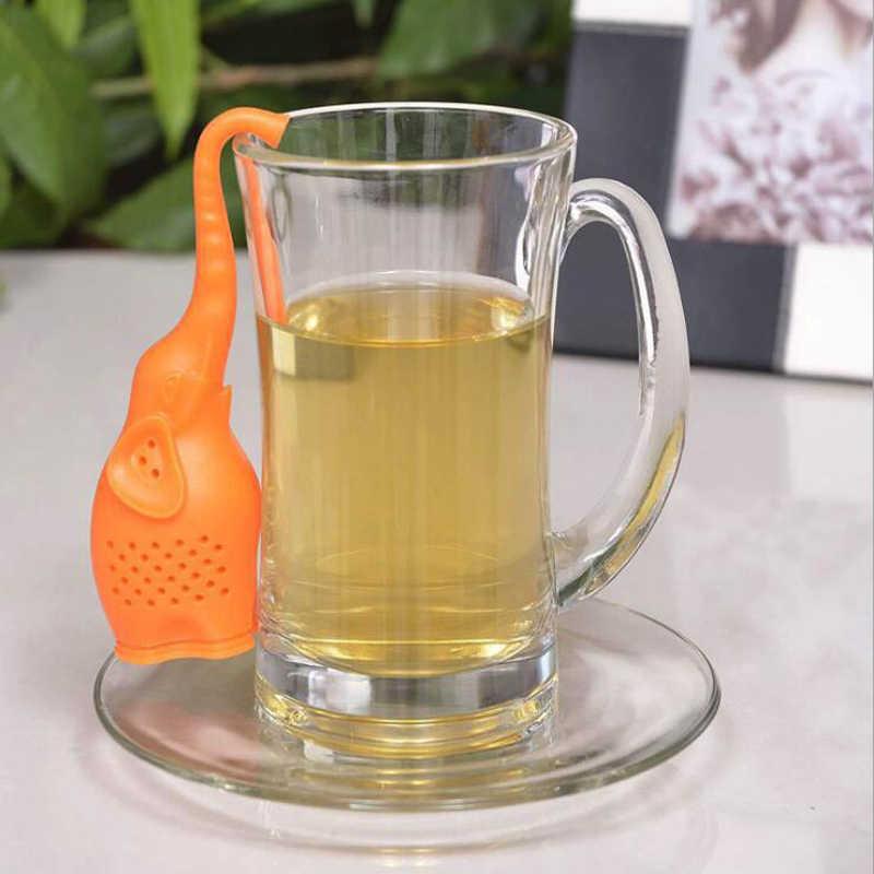 2018 lindo pequeño elefante colador de té de alta calidad de silicona Animal de hoja suelta Infusor de té filtro difusor accesorios de té divertido