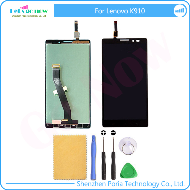 LCD Display For Lenovo K910 Screen+Touchscreen Panel Digitizer Replacement With Tools+Track Number