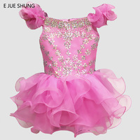 E JUE SHUNG Purple Pink Organza Crystals Short Flower Girl Dresses 2018 Cupcake Pageant Girl Dresses infant toddler Dresses