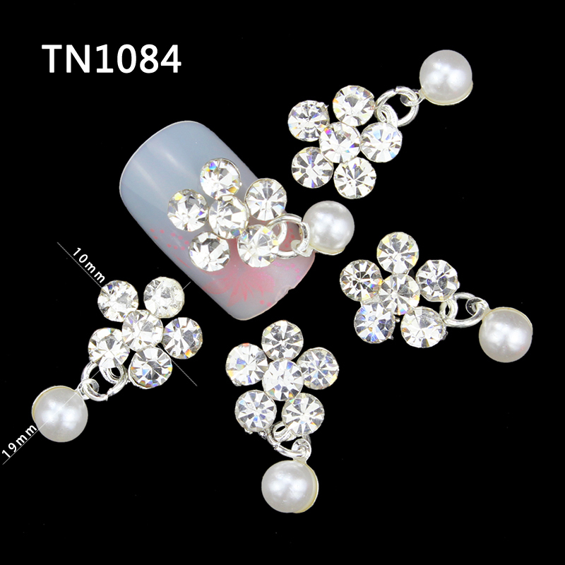 10 Pcs 3D Nail Art Decorations Alloy Diy Glitter Charm Rhinestones Tools With Pearl Pendants Used On Nails TN1084 1kg 3d caviar beads rose gold silver metal nail art pearl rhinestones decorations diy nail accessories manicure tools wholesale