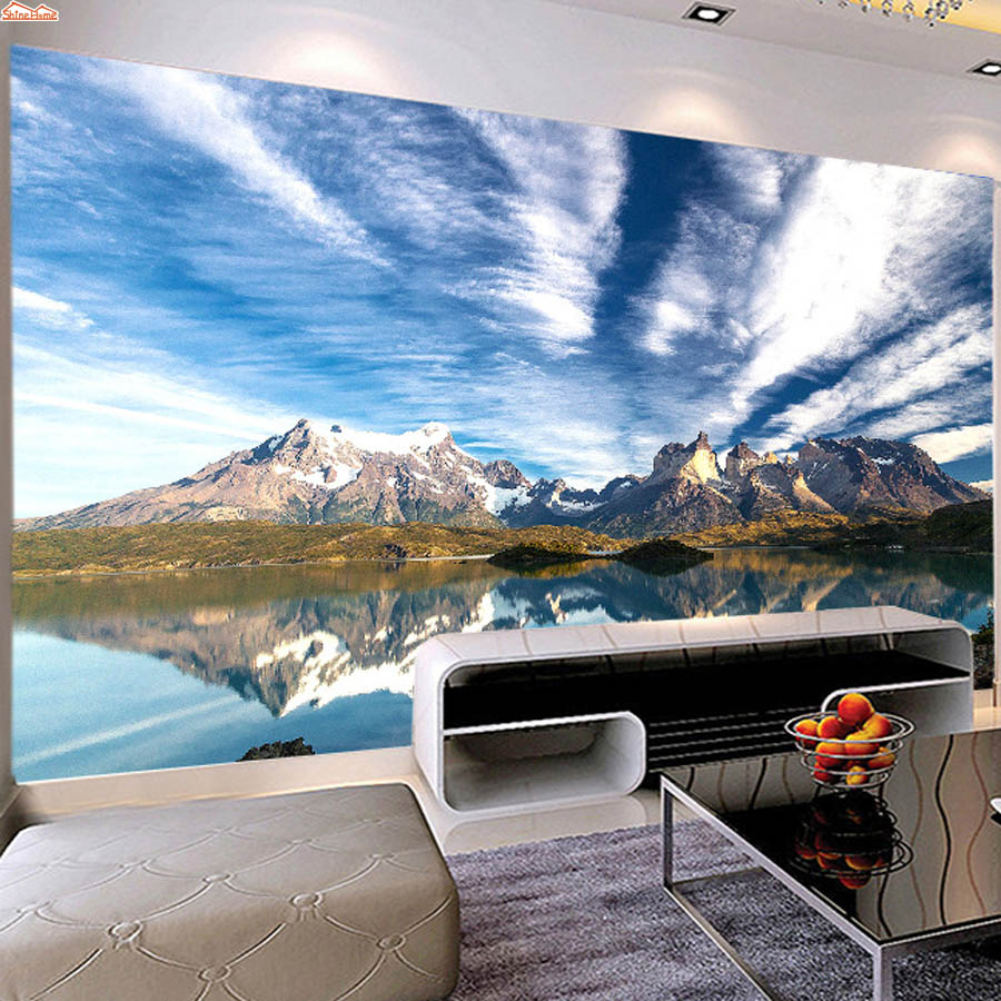 ShineHome-Natural Blue Sky Lake Mountain Modern Wallpaper 3d Wall Paper Mural Rolls Papel De Parede Para Quarto Papier Peint 3d shinehome modern waterfall natural wallpaper roll 3d wallpapers for wall 3 d walls paper rolls papier peint papel de parede 3d