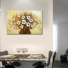 Banner Hand Painted Palette Knife White Flowers Oil Painting Wall Art Canvas Picture Modern Abstract Home Decor Living Room 3