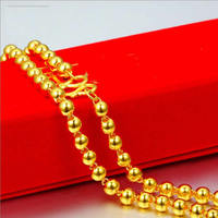 Pure Yellow Gold Smooth Round Beads Chain Necklace/ 999 gold 24K Necklace Chain 11g Lucky