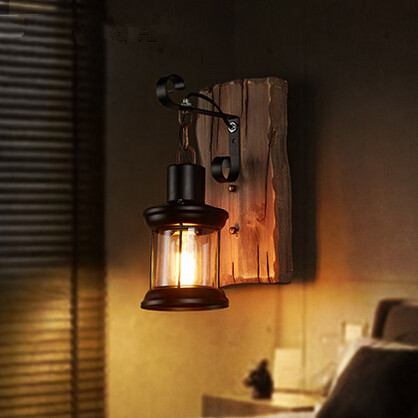 Creative Wooden American Country Wall Lamp Glass Vintage Wall Sconces Bedside Light Fixtures For Home Indoor Lighting Bar Cafe