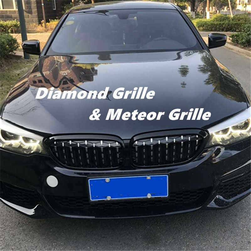 A Pair Front Kidney Grille For Bmw New 5 Series G30 G38 2018 2019 Diamond Grille Meteor Style Front Bumper Grill Car Styling
