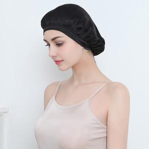 Image 5 - المرأة الحرير الخالص النوم القبعات التفاف قبعة الليل العناية بالشعر بونيه