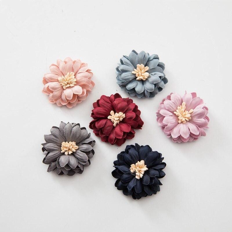 50 шт./лот 6 цветов 4 см модные цветы хризантемы для пляжная обувь для девочек повязки Сделай Сам одежда волосы декоративные аксессуары