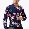 Otoño Nuevos hombres de la Llegada Camisa de La Flor 2016 de La Moda de Manga Larga de Impresión Hombres camiseta Slim Fit Casual Camisa de Vestir Para Hombre Hombres Ropa 7XL