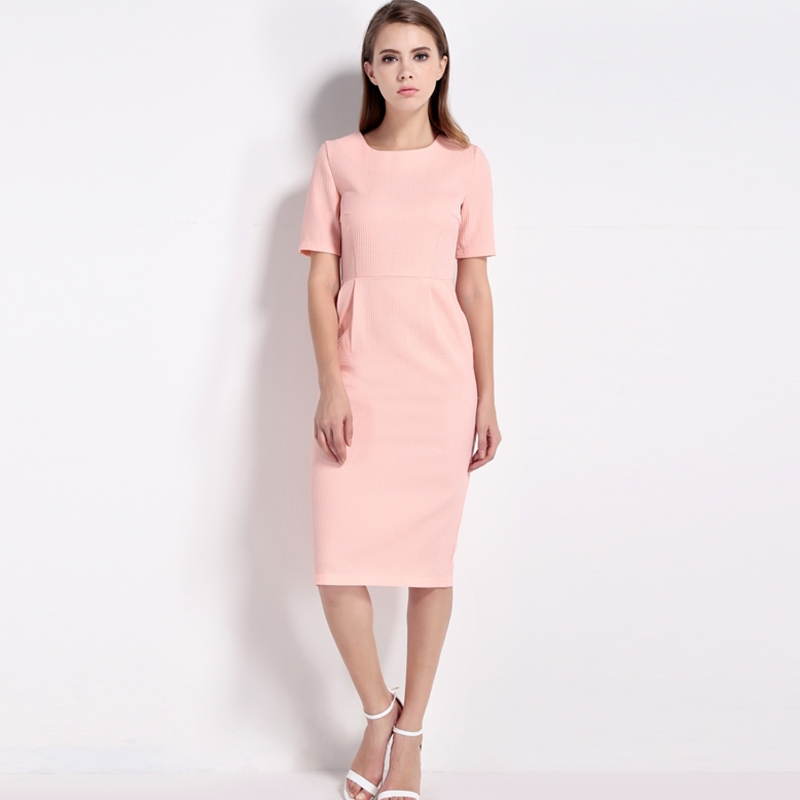HDY Haoduoyi 2017 New Fashion Women Bodycon Dress Summer Solid Pink Short Sleeve Female Dress O Neck Cute Sexy Empire Dress 8