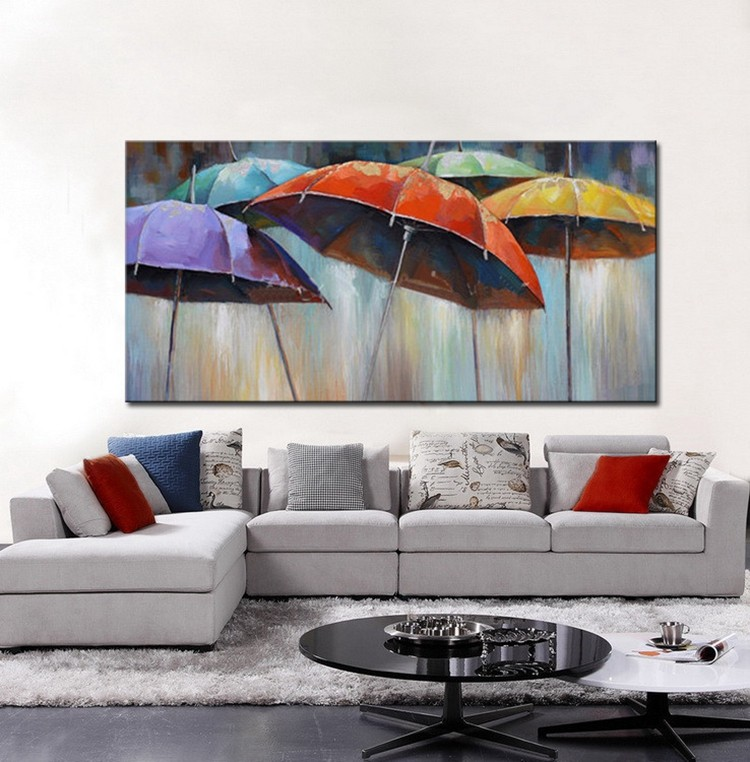 ᗗHand painted canvas oil paintings landscape umbrella picture wall ...
