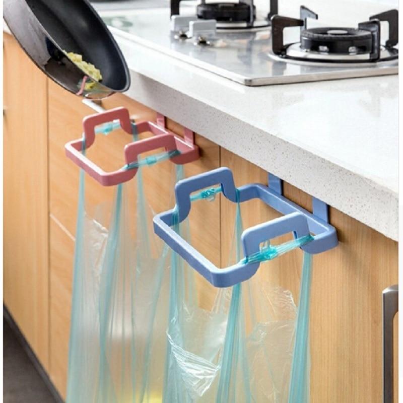 2 Colors Kitchen Trash Bag Holder Cabinets Cloth Rack Towel Rack Kitchen Accessories Tools