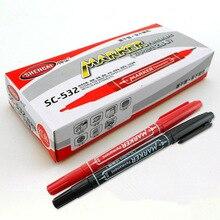 10 pcs Dual side color marker pen Permanent colors ink blue red black 1.0mm 0.5mm ballpoint office School supplies FB875