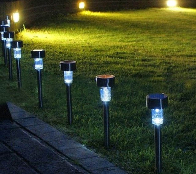 24 Pcs Outdoor Stainless Steel Led Solar Power Light Lawn Garden Landscape Lamp