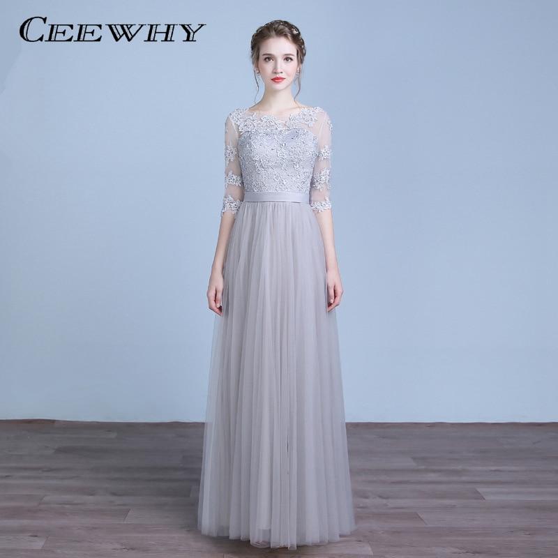 CEEWHY Half Sleeve Long   Evening     Dresses   Embroidery Formal   Dress   Wedding Party   Dress   Vestido Longo Robe de Soiree Abendkleider