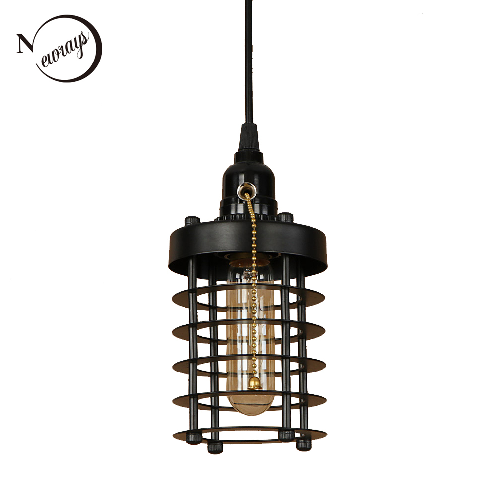 American style modern art deco iron painted black hanging lamp E27 LED 220V with switch pendant Light for bedroom parlor hallway