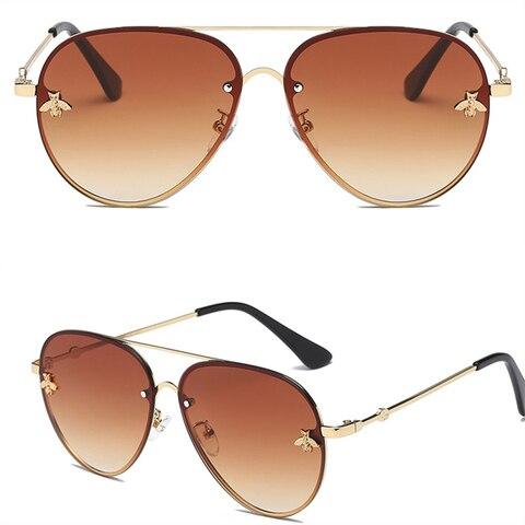 ASOUZ 2019 new fashion ladies sunglasses UV400 metal oval frame bee sunglasses classic brand design sports driving sunglasses Multan