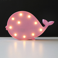 Whale Shaped Cetacean Modelling Fairy Night Light ABS Plastic Table Desk Lamp Room Atmosphere Wedding Decoration