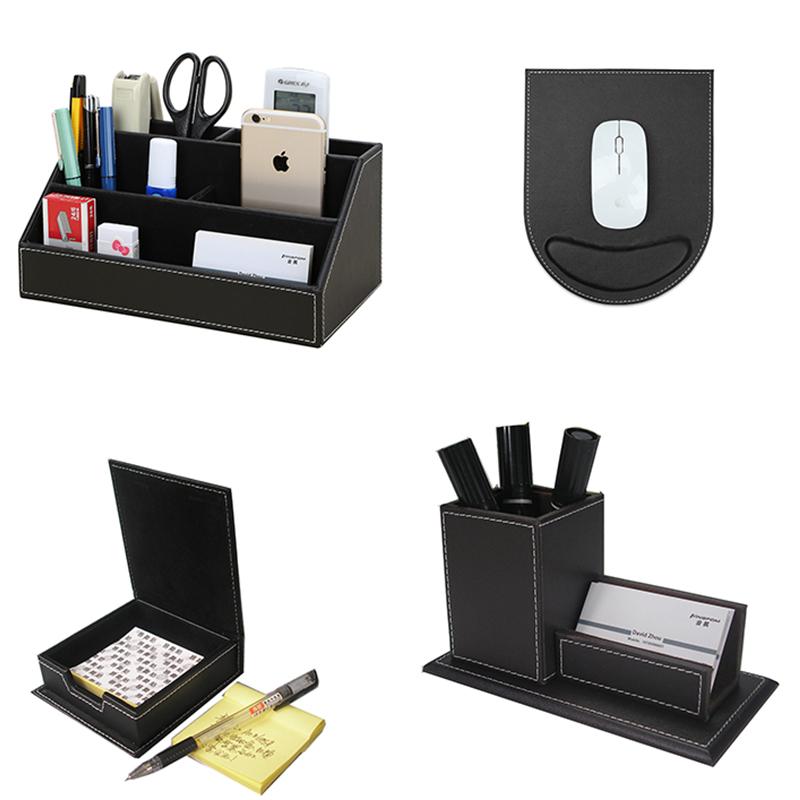 Image 5 - Ever Perfect 4PCS/Set PU Leather Desk Stationery Accessories Organizer Pen Holder Box Mouse Pad Name Card Stand T41-in Storage Boxes & Bins from Home & Garden