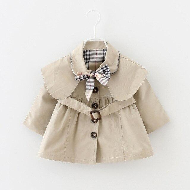 2016 новая коллекция весна и осень девочка одежда мода повседневная детские пальто девушки 6-24 месяцев детские куртки и пиджаки с поясом и лук
