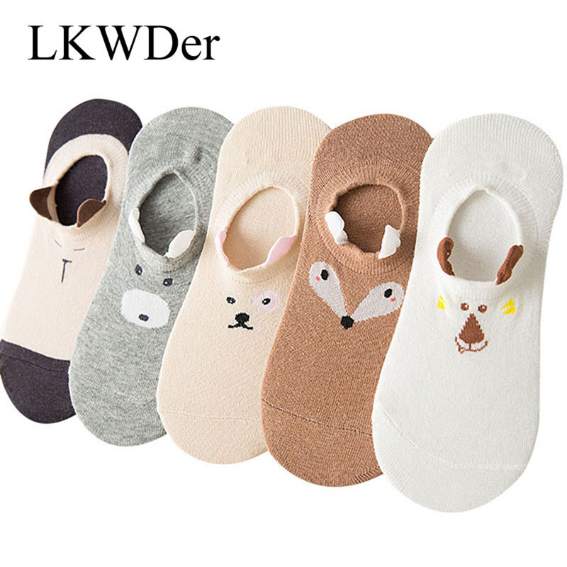 LKWDer 5 Pairs Womens Spring Summer Socks Women Cute Pet Stereo Animals Ear Happy Funny Socks Cotton Non-slip Cartoon Boat Socks