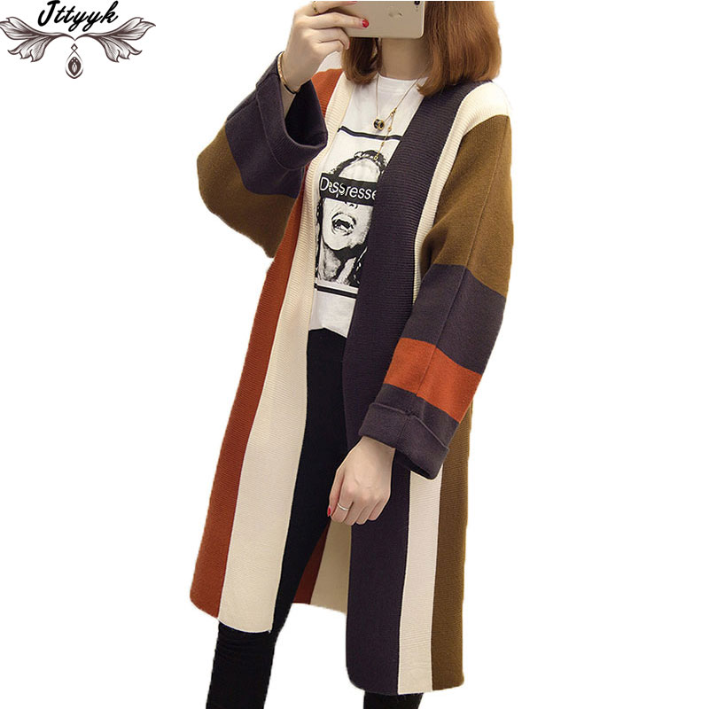 Cardigan Coat Jacket Autumn Sweater Long-Sleeve Loose Winter Knitted Woman Casual LJ285