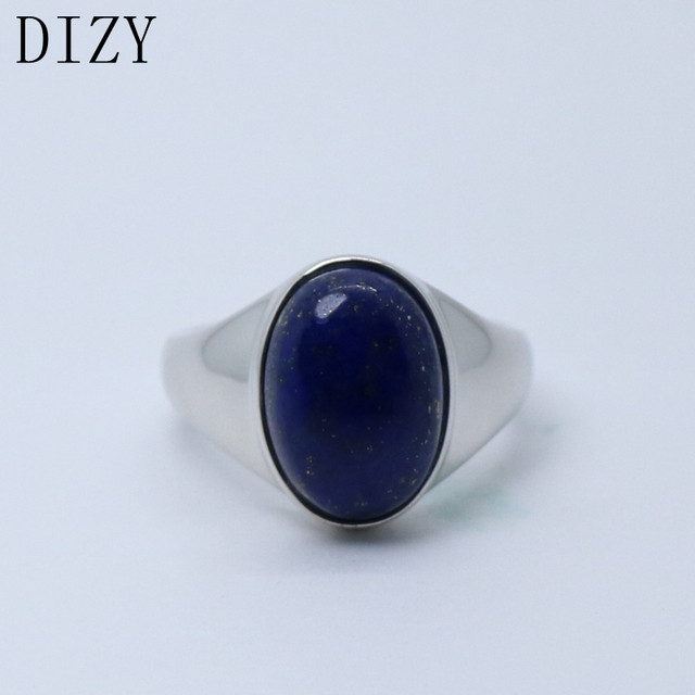 DIZY Oval 10x15mm Natural Lapis lazul Ring 925 Sterling Silver Gemstone Ring for Women Party Daily Romantic Gift Fine Jewerly