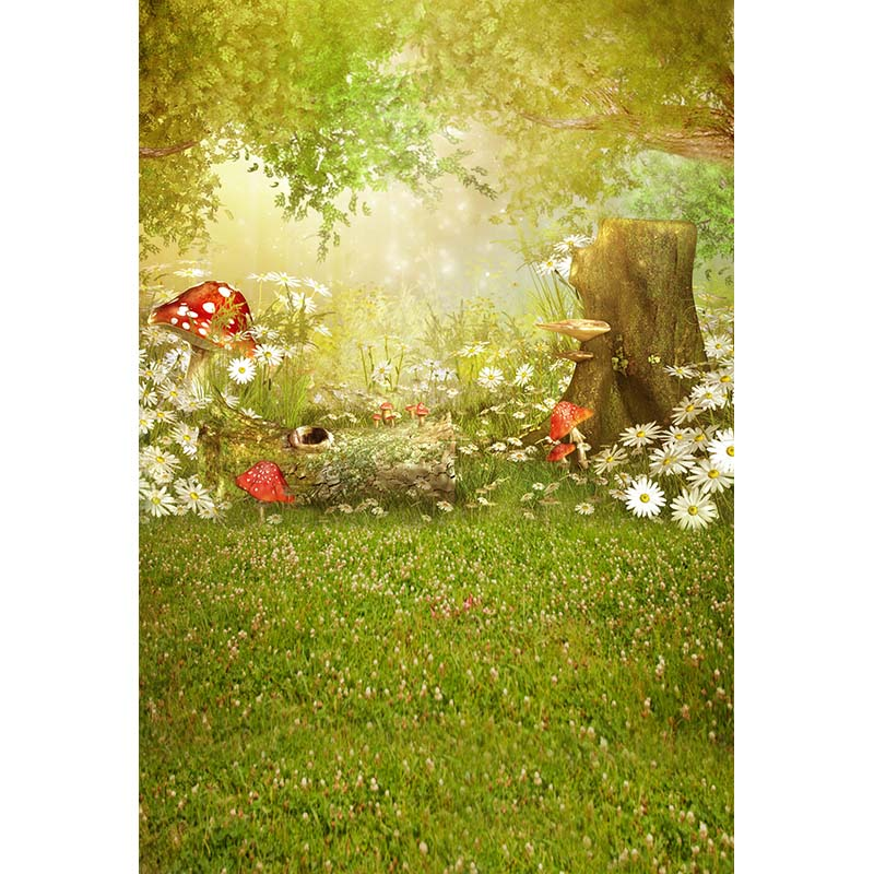 Seamless Vinyl Photography Backdrop Fairy Tale Forest Mushroom Computer Printed Children Backgrounds for Photo Studio CM-1576
