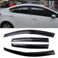 4pcs Windows Vent Visors Rain Guard Dark Sun Shield Deflectors For Kia K3 2013