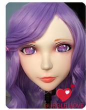 (DM010) Female Sweet Girl Resin Kigurumi BJD Mask Cosplay Japanese Anime Role Lolita Lifelike Real Mask Crossdress Sex Love Doll japanese female full siize silicone 158cm sex dolls small breast with skeleton real solid anime love dolls for men